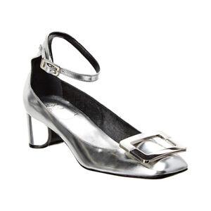 Roger Vivier Women's Leather Metallic Ankle Strap Pump Silver