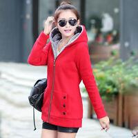 Women Ladies Hooded Hoodie Coat Jacket Tops Thicken Fleece Warm Long Parka Tops