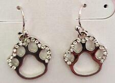 Silver Toned Paw Print Clear Rhinestone Earrings Pierced Dog Jewelry