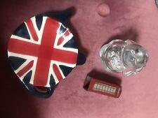Union Jack Tea Bag Holder/saucer, Bank Of England Glass Dog With Shredded Pounds