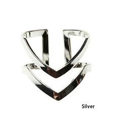 1pc Fashion Double Layers V-shaped Alloy Finger Knuckle Ring Jewelry Gold/silver Silver