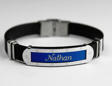 NATHAN - Mens Silicone & Blue Name Plate Engraved Bracelet - Fathers Day Gifts