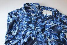 Tommy Bahama Camp Shirt Luna Leaves Ocean Deep T319744 100 Silk Large L