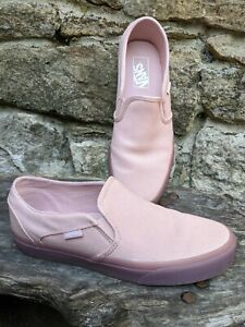 RARE VANS UK 6.5 Pale Pink Gum Sole! Classic Slip On Loafers Flats Limited Ed