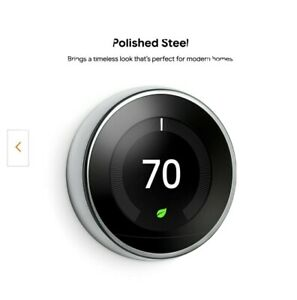 Nest Learning Thermostat 3rd Gen in Polished Steel UPC 813917022030