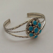 Sterling Silver Navajo Handmade 7 Turquoise Clustered Oval Shape Cuff Bracelet