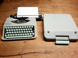 VINTAGE HERMES BABY SWITZERLAND SEA FOAM GREEN PORTABLE TYPEWRITER WITH CASE