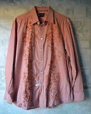 INDIGO PALMS cotton Long Sleeve Shirt size L Men's. Orange color Stripes