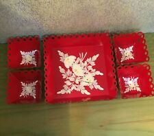 Vintage Toleware Tray Set, Beautiful hand painted, Red and White, [a-6]