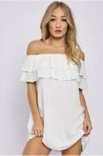 Charlotte Crosby White Double Layer Bardot Dress Size UK 10 Lf087 CC 06