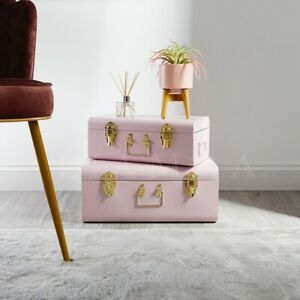 Set Of 2 Metal Trunks Pink & Gold Metal Storage Trunk Box Chest Travel Briefcase