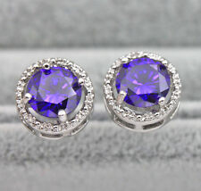 18K White Gold Filled - Round Amethyst Topaz Hollow Women Cocktail Stud Earrings