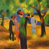 Lady in a green jacket by August Macke Giclee Fine Art Print Repro on Canvas