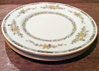 ROYAL DOULTON THE KENILWORTH LOT OF 3 DINNER PLATES EMBOSSED FLORAL 1 wCRAZING+