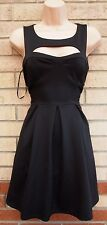 FOREVER 21 CUT OUT NECKLINE FRONT BACK SKATER A LINE CURVY SEXY TEA DRESS  S