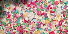 Crafts Sewing Fabric P & B Dottie's Sweet Shop (00601) Pink Green Yellow BTY