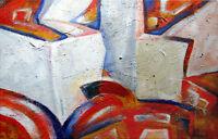 Bild Acryl Handgemalt Original Abstrakt Stadt 50x70 cm Unikat Strucktur signiert