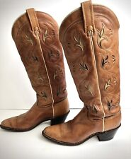 Women's Vintage Tall Acme Leather Inlay Boots Size 8 A
