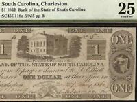 1862 $1 LOW ONE DIGIT SN SOUTH CAROLINA BANK NOTE CIVIL WAR PAPER MONEY PMG 25