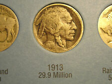 """1913-P/D/S Buffalo Nickels  Type 2              """"2 of 3 Restored""""          (4th)"""