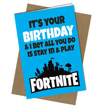 #721 FORTNITE BIRTHDAY CARD Game Humour Funny Rude Cheeky Love Son Brother