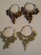 925 Sterling silver  chandelier earrings in 2 different  natural stones