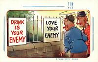 COMIC BAMFORTH DRINK is your ENEMY - LOVE your ENEMY POSTCARD UNUSED