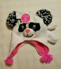 NWT White Panda Lined Knit Hat and Mittens Size XS 6/12 MTH The Children's Place
