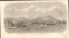Pacific Bay California San-Francisco Baie Pacifique USA GRAVURE OLD PRINT 1869
