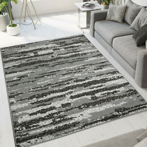 Grey Geometric Rug Small Large Living Room Rugs Long Hallway Runners CLEARANCE