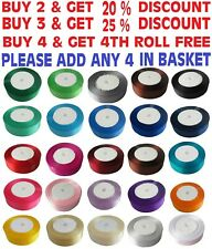Satin Ribbon size 6,10, 12,15,20,25,30,38,50mm BUY 3 & GET1 FREE ADD 4 IN BASKET