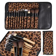 12 PCS Pro Makeup Brush Set Cosmetic Tool Leopard Bag Beauty Brushes W2