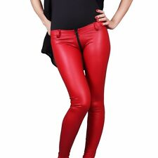 Women Lady Sexy Low Rise Trousers Faux Leather Zip Crotch Pants Slim Fit Stylish