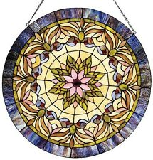 Stained Glass Window Panel Tiffany Style Round Victorian Hanging Wall Decor Art