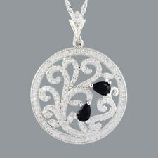 New Cubic Zirconia 18K White Gold Plated Black Onyx Pear Pendant Free Chain