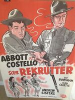 "ABBOTT & COSTELLO DANISH VERY RARE ORIG 1949 1ST POSTWAR RELEASE ""BUCK PRIVATES"""