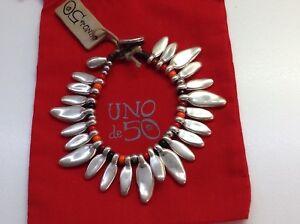 "NWT Uno de 50 Silvertone Petals w/ Orange/Red/Black Beads Bracelet 7"""
