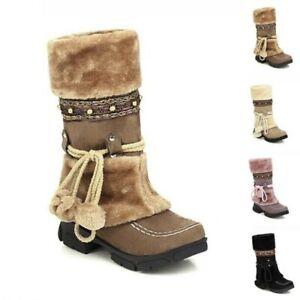 Women's Faux Fur Pom Pom Winter Warm Snow Lace UP Mid Calf Boot Fur Trim Shoes