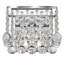 Searchlight 2 Lights Square Chrome Clear Crystal Ball Wall Fitting Bracket Light