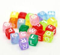 "L/P: Mix Mehrfarbig Buchstaben ""A-Z"" Würfel Acryl Perlen Spacer Beads 6x6mm"