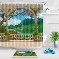 Polyester Waterproof Fabric Shower Curtain Bath Hook Beautiful landscape balcony