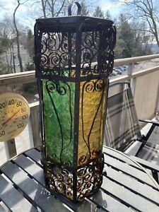 Vintage Spanish Colonial Glass Pendant Light Fixture Retro Gothic Estate Item