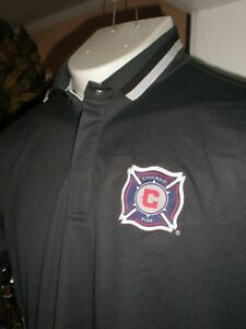 NEW ADIDAS Chicago Fire GREY S/S PERFORMANCE POLO SHIRT SZ:L
