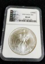 1995 American Silver Eagle 1oz Fine  Silver NGC MS69