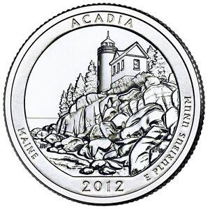 """2012 ACADIA, MAINE """"ATB"""" NATIONAL PARK QUARTER P or D MINT 1-COIN BU FREE SHIP"""