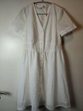 Kleid Weiß Baumwolle Damen Esprit Casual 40 L Schön Neu!