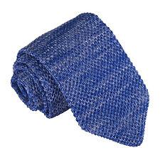 DQT Knit Knitted Melange Plain Speckled Royal Blue Casual Mens Slim Tie
