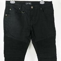 Lost Key Black Biker Denim Jeans Mens Size 32 29x30 Skinny Ribbed Street Wear