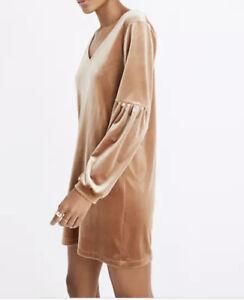 Madewell Dusty Pink Balloon Sleeve Velvet Dress Size MEDIUM RRP: £150
