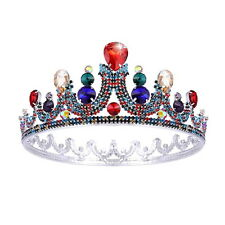 """5.7"""" Wide Large Colourful Drip Crystal Crown Adult Wedding Party Pageant Prom"""